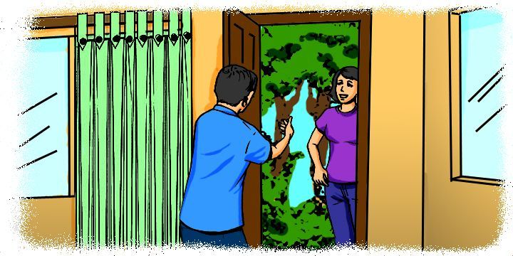 Cartoon: Man welcoming guest to his home