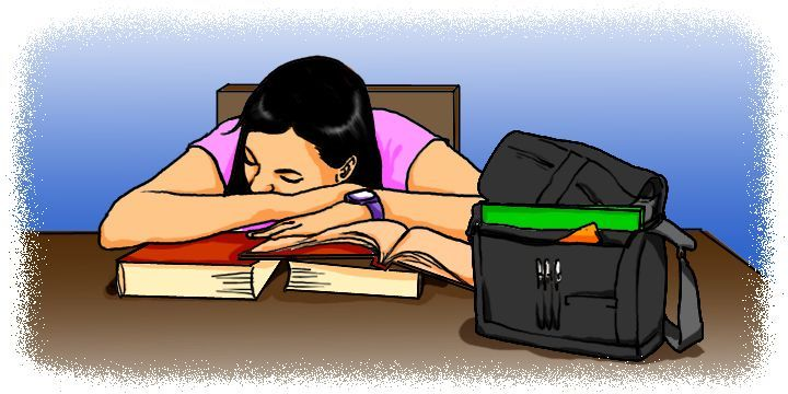 Cartoon: Woman taking a nap while studying