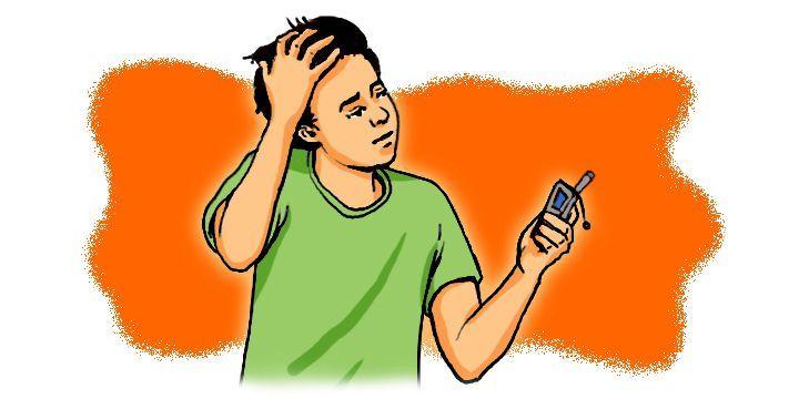 Cartoon: Man looking at mobile phone