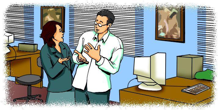 Cartoon: Employees talking in the office
