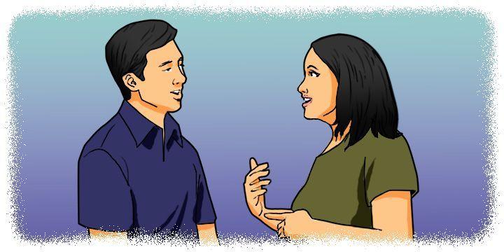 Cartoon: Man and woman talking