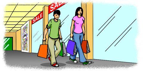 Cartoon: Man and woman shopping