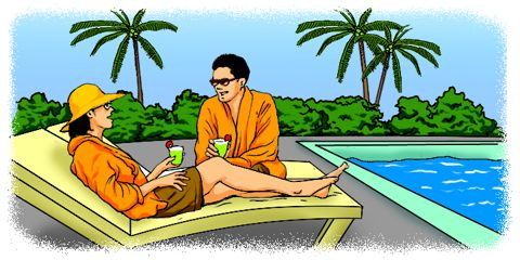 Cartoon: Man and woman relaxing by the pool