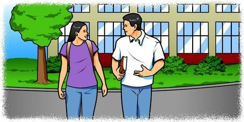 Cartoon: Students talking in front of a building