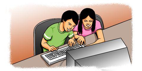 Cartoon: Teenagers using a computer