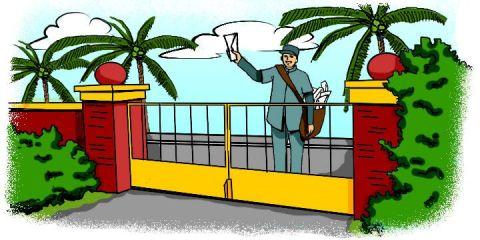 Cartoon: Postman delivering a letter