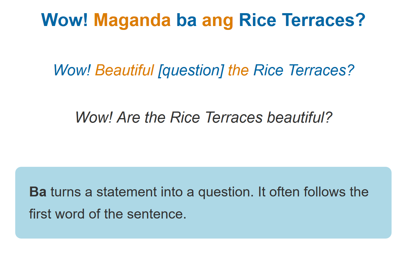Grammar notes help you understand how Tagalog works
