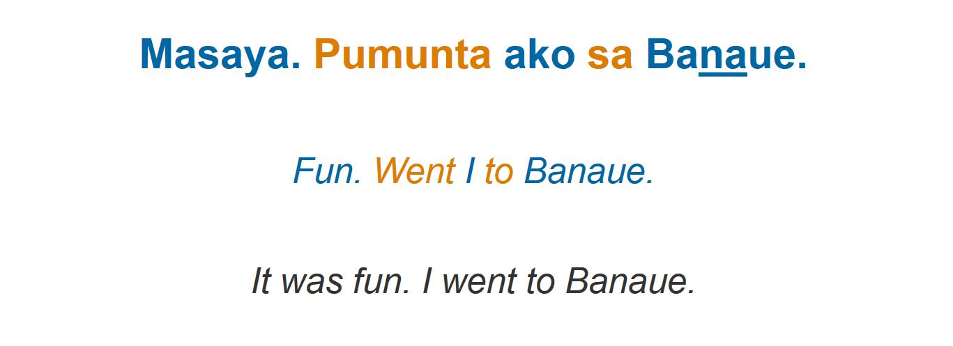 Tagalog sentence, literal translation with color coding and natural translation